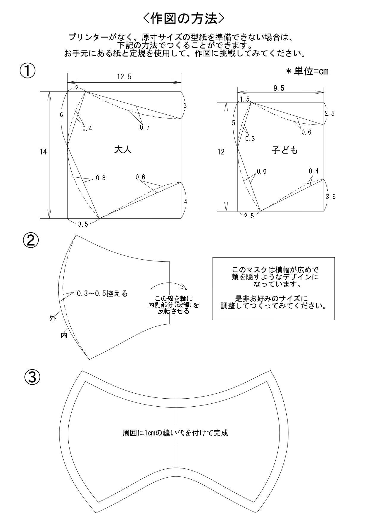 型紙 簡単 マスク 立体 手作り